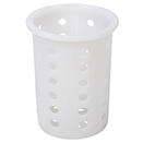 FLATWARE CYLINDER, PERFORATED, WHITE PLASTIC