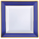 SQUARE DISPOSABLE PLATES, WHITE W/COBALT & GOLD TRIM - 7.25