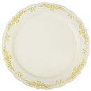 HERITAGE DISPOSABLE DINNERWARE, ROUND, BONE WITH GOLD DESIGN