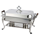 CROWN LIFT OFF RECTANGULAR CHAFER, WOOD HANDLES, STAINLESS