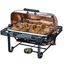 MESA RECTANGULAR HAMMERED COPPER ROLL TOP CHAFER, WROUGHT IRON TRIM
