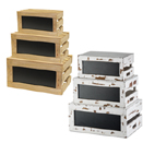 RUSTIC RISER/CRATE SET WITH CHALKBOARD - NATURAL WOOD CRATE SET