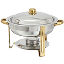 MALIBU ROUND CHAFER, LIFT OFF LID, STAINLESS WITH GOLD ACCENT