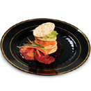 ROUND DISPOSABLE DINNERWARE, BLACK WITH GOLD BAND