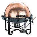 MESA ROUND HAMMERED COPPER ROLL TOP CHAFER, WROUGHT IRON TRIM