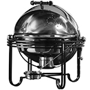 MESA ROUND ROLL TOP CHAFER, STAINLESS COVER WROUGHT IRON TRIM
