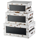 RUSTIC RISER/CRATE SET WITH CHALKBOARD - WHITE DISTRESSED WOOD CRATE SET