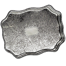 SERPENTINE GALLERY TRAY, EMBOSSED CENTER, SILVERPLATE