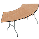 SERPENTINE FOLDING TABLES, PLYWOOD TOP