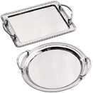 SERVING TRAYS WITH HANDLES, 18/10 STAINLESS STEEL