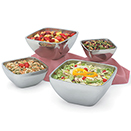 SERVING BOWLS, SQUARE, DOUBLE WALL, 18/8 STAINLESS