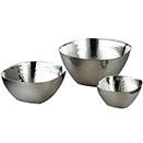 SERVING BOWLS, SQUARE, HAMMERED FINISH STAINLESS - 10
