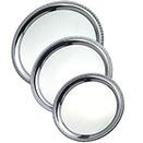SERVING TRAY, ROUND, ROLLED EDGE, HEAVY DUTY STAINLESS STEEL