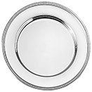 NICKELPLATED CHARGER PLATE, SILVER BEADED EDGE DESIGN, SET/4