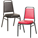 CHAIRS WITH METAL FRAME, SQUARE BACK STACK STYLE, COLORED PADS