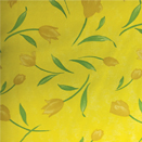 FLANNEL BACK TABLECLOTH, DESIGNER FLORAL YELLOW, 54