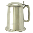 PEWTER TANKARD WITH  HINGED LID AND SOLID BOTTOM, BRIGHT FINISH