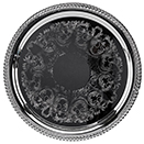 ROUND TRAYS WIHT GADROON EDGE, EMBOSSED CENTER, SILVERPLATE
