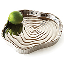 TRAYS, SILVER TREE BARK, TITANIUM PLATED PORCELAIN