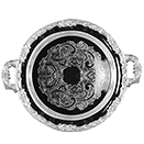 ROMANTICA ROUND TRAY WITH HANDLES, SILVERPLATED