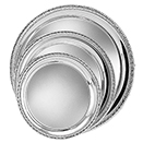 ROUND TRAYS WITH GADROON EDGE, SILVERPLATE