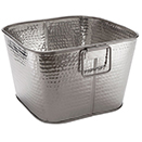 PARTY TUBS, SQUARE, HAMMERED STAINLESS STEEL