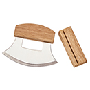 STAINLESS ULU KNIFE WITH WOOD HANDLE & STAND