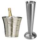 WINE BUCKET AND STAND, SWIRL STYLE, STAINLESS