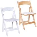 FOLDING CHAIRS WITH REMOVABLE VINYL SEAT CUSHIONS, WOOD