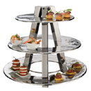 3 TIER DISPLAY STAND, HAMMERED STAINLESS STEEL