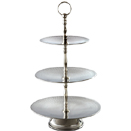 DISPLAY STAND, 3 TIER, HAMMERED STAINLESS STEEL
