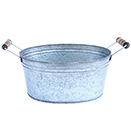 GALVANIZED STEEL BEVERAGE TUB WITH ANTIQUED WOODEN HANDLES