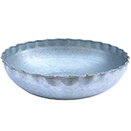 SERVING BOWLS WITH GOLD BEAD EDGE, GALVANIZED STEEL