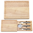 RECTANGULAR WOOD CHEESEBOARD WITH 3 STAINLESS CHEESE UTENSILS