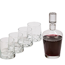 5 PC GLASS DECANTER SET, 1 DECANTER WITH 4 GLASSES