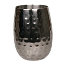 16 OZ DOUBLE WALL STEMLESS WINE GLASS, HAMMERED STAINLESS STEEL WITH BLACK FINISH
