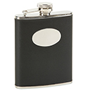 6 OZ BLACK LEATHER AND STAINLESS STEEL FLASK