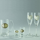 GLASSWARE W/ENGRAVABLE PEWTER PLATE