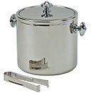 STAINLESS STEEL COVERED ICE BUCKET WITH TONG