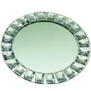 MIRROR FINISHED GLASS CHARGER PLATE, FAUX DIAMOND RIM DESIGN