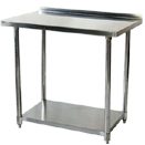 STAINLESS WORK TABLES W/REAR UP TURN