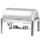 8 QT RECTANGULAR ROLL TOP CHAFER, STAINLESS STEEL