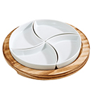 5 PC ROUND SERVING SET WITH 4 DISHES AND WOOD BOARD