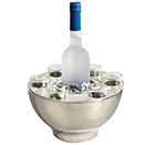 HAMMERED SHOT BOWL WITH 6 GLASSES, 9.75