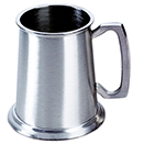 16 OZ PEWTER TANKARDS WITH GLASS BOTTOM - 16 OZ PEWTER TANKARD WITH GLASS BOTTOM, BRIGHT POLISH FINISH