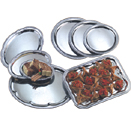 TRAYS WITH ROLLED EDGE, EMBOSSED CENTER, CHROMEPLATE