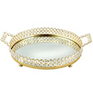 SPARKLE GOLD VANITY TRAY WITH FAUX CRYSTALS